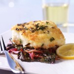 Scallion-Panko Cod with Red Onions and Swiss Chard